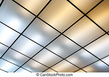Luminous ceiling - Fluorescent lamps on the modern ceiling....