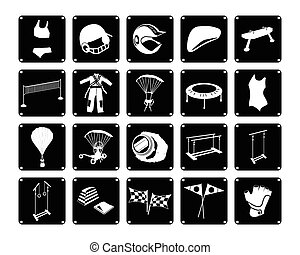 Set of Sport Accessory Icons on White Background -...