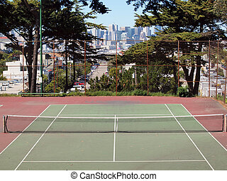 Empty tennis court in on the top of Potrero Hill