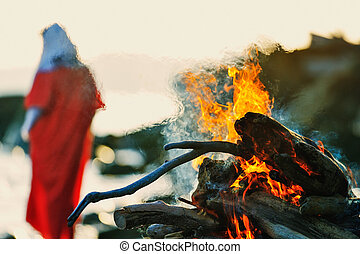 Woman near campfire - Woman in red dress near the campfire...