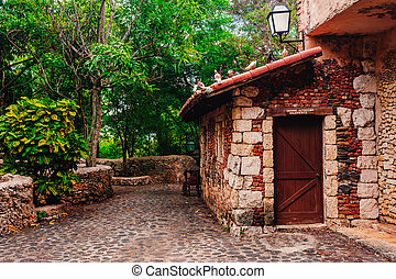 Road in park Ancient village Altos de Chavon - Colonial town...