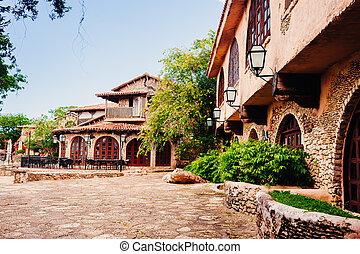 Road in park. Ancient village Altos de Chavon - Colonial...