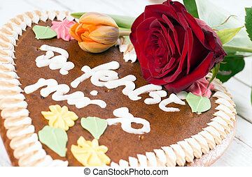 Love - Gingerbread heart with the words I miss you so