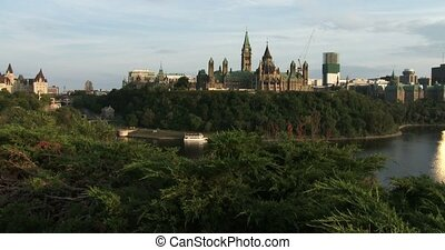 Canadian Parliament in Ottawa, view of the side facing...