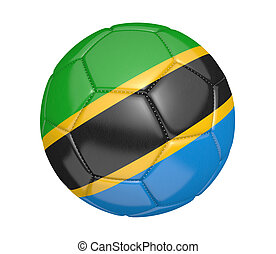 Soccer ball with flag of Tanzania - Soccer ball, or...