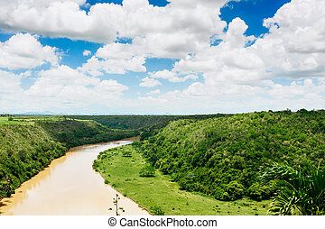 Tropical river Chavon in Dominican Republic. Vocation and...