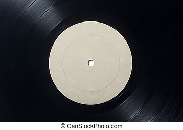 Closeup of Vinyl Long Play Record with Label with Copy...