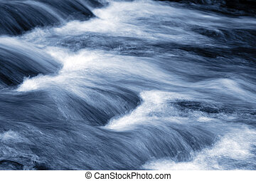 Stream - Fast flowing stream, blue tone
