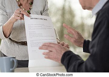 Demanding divorce - Elderly woman demanding divorce form her...