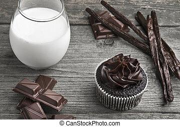 Chocolate cupcake with choco icing