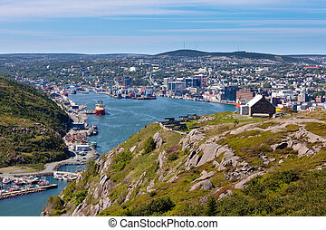 Saint Johns downtown harbour Signal Hill NL Canada