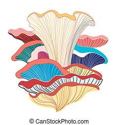 fungos, abstratos, diferente, fundo