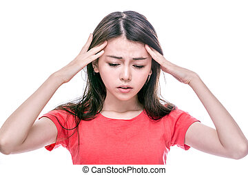 Asian woman with headache - Chinese woman with headache with...