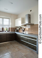 Functional contemporary kitchen with wide worktop
