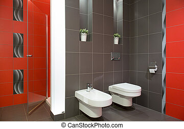 Restroom with toilet and bidet - Elegant restroom with...