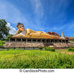 Reclining buddha in Wat  Temple of Phrae Asia Thailand