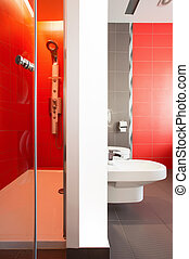 Luxurious red bathroom with spacious shower
