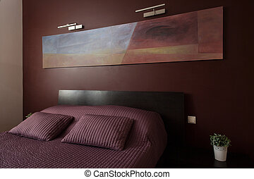 Luxury bedroom with modern art - Luxury cozy bedroom with...