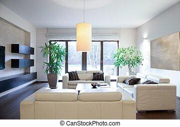 fényes, szoba, Kényelmes