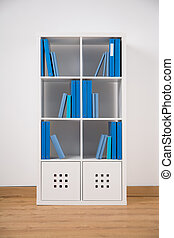 White bookcase in teen bedroom