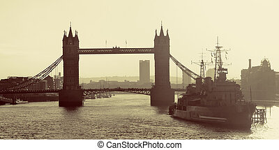 Thames River London - HMS Belfast warship and Tower Bridge...