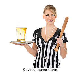 Female Referee With Beer And Baseball Bat - Portrait Of...