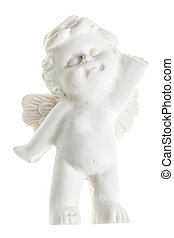 Isolated angel - a small cute ceramic angel statuette...