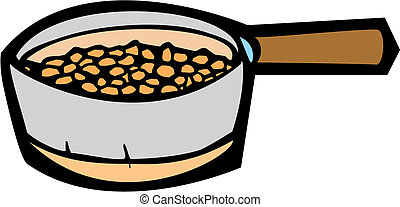 Cooking Pot - Cooking pot full of beans roasting inside