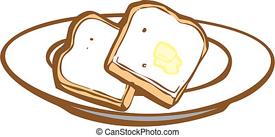 Toast - Two slices of toast with some butter.