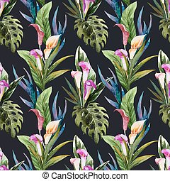 Tropical watercolor seamless pattern - Beautiful vector...