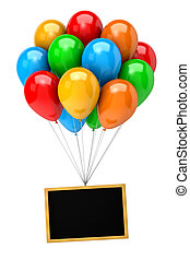 Bunch of Balloons Holding Up a Blank Chalkboard - Bunch of...