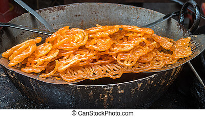 Indian jalebi sweet at a street stall