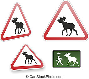 elk - typical swedish traffic sign with elk warning