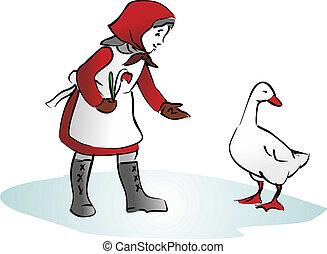 maiden - abstract illustration of maiden feeding the goose