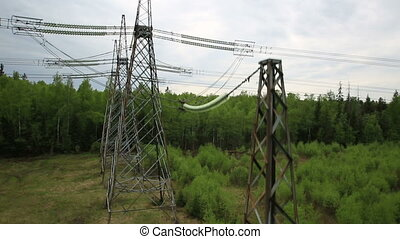power transmission line, aerial shot