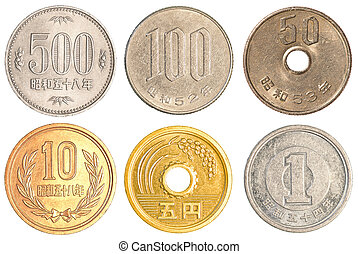 Japanese Yen coins collection set isolated on white...