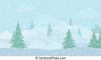 Christmas Landscape, Winter Forest, Seamless Loop - Fullhd...