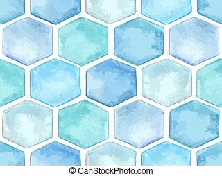 Vector  Seamless Pattern with Blue Hexagons
