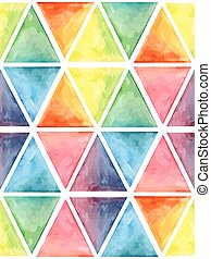 Vector  Watercolor Geometric Seamless Pattern with Hexagons