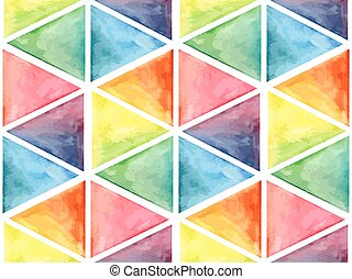 Vector  Watercolor Geometric Seamless Pattern with Triangles