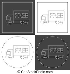 Free shipping truck line icons. Contour plots. Vector...