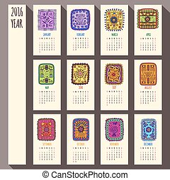 2016 year ethnic calendar design, English, Sunday start -...