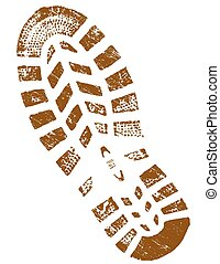 Dirty Brown ShoePrint - Highly detailed vector