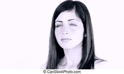 Woman getting makeup black white
