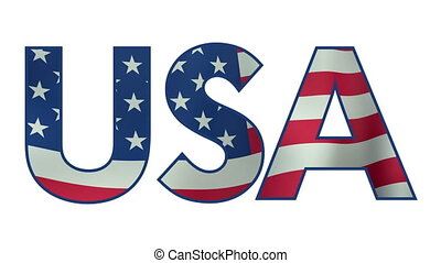 USA text with waving flag animation with alpha matte - USA...