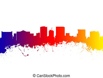 El Paso Texas - Watercolor art print of the Skyline of El...