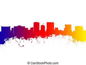 El Paso Texas - Watercolor art print of the Skyline of El...