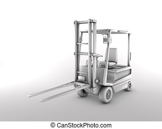 Forklift - 3d illustration - Forklift in a 3D illustration -...