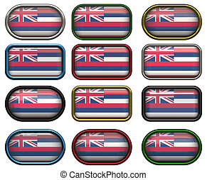 12 buttons of the Flag of Hawaii