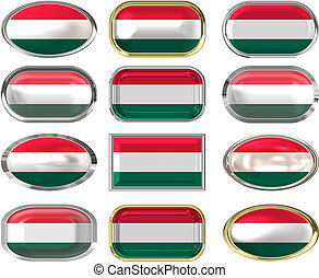 12 buttons of the Flag of hungary